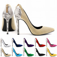 Fashion Women Snake Print Flannel Shallow Mouth Pointed Head Shoes Heels Shoes