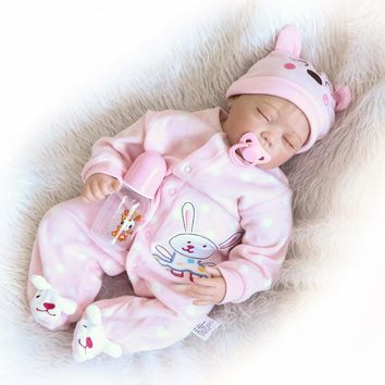 Handmade Real Baby Doll Reborn 22 Inch Silicone Reborn Baby Dolls Realistic Baby Doll Toy Lifesize Doll Baby Alive Juguetes Gift