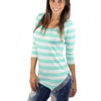 Mint Striped Asymmetrical Top