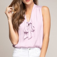 Good Luck Charm Sleeveless V Neck Bow Tank Top Blouse - 6 Colors Available