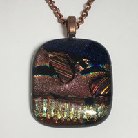 HEART PENDANT -  Dichroic Glass - Fused Glass Jewelry - Handmade Jewelry - Valentine Gift Idea
