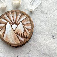 Sunrise Walk in the Mountains Woodburned // Wood Wall Piece // Magnet // Twine Hanging