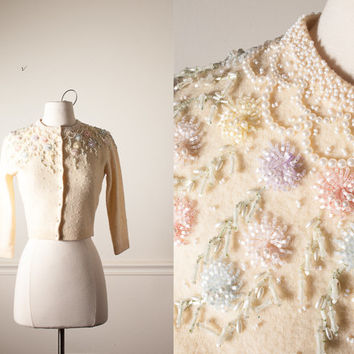 Vintage 50s Beaded Sweater | 50s sweater Bugle Beaded Cardigan 60s sweater Rockabilly Mid Century Modern Ivory Angora Evening Cocktail Mod
