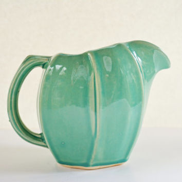 Vintage McCoy Teal Pitcher, McCoy Pottery Vase, Aqua McCoy, Shabby Chic Collectible
