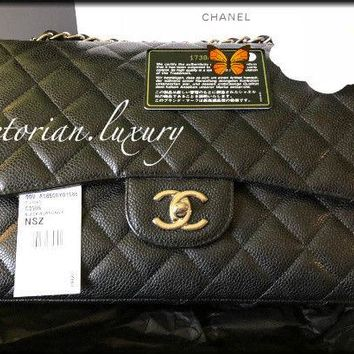 AUTHENTIC! CHANEL Caviar Jumbo DOUBLE Flap Black Bag SHW