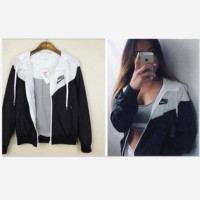 Fashion NIKE Hooded Zipper Cardigan Sweatshirt Jacket Coat Windbreaker Sportswear black white