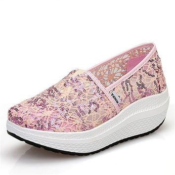 2017 summer new sequins net yarn shoes breathable swing shoes, women's platform wedge sandals, casual woman pumps