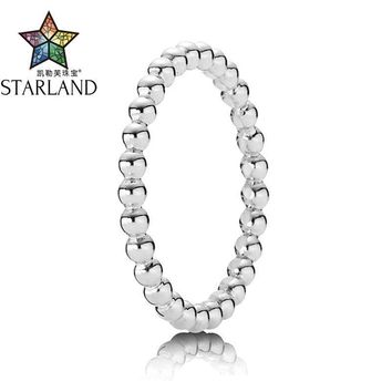 Starland Fine Detail Authentic 925 Sterling Silver Simple Style Round Bead Shapes Women's Ring Wedding Party Jewelry Accessories