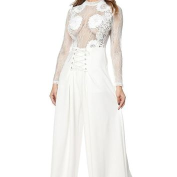Lace Top Corset Bottom Wide Leg Jumpsuit