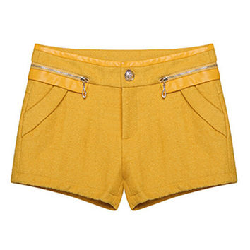 Yellow Diagonal Zipper PU Leather Wool Shorts