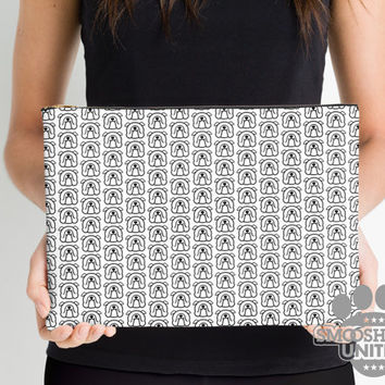 English Bulldog zipper pouch, sleeve, pocket, clutch, bag, organizer - black & white bulldog fabric print - #bullylove - Mother's Day!