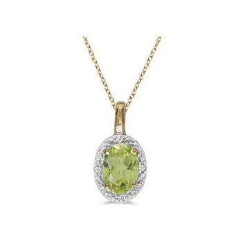 Seven Seas Jewelers Halo Oval Peridot & Diamond Pendant Necklace 14k Yellow Gold (0.55ctw)
