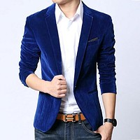 Men's Blazers jacket velvet spring outwear suites