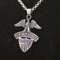 US Air Force 925 Sterling Silver Necklace - United States Military Jewelry - USAF Charm On Chain