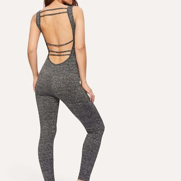 Strappy Scoop Back Marled Unitard Jumpsuit