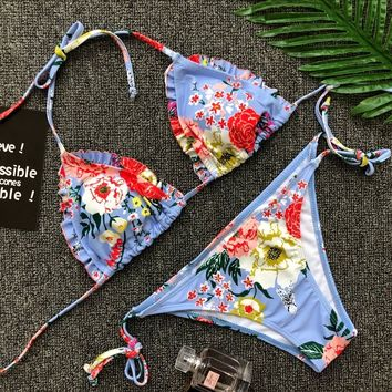 2018 Hot Sexy Cross Brazilian Bikinis Women Swimwear Beach Bathing Suit Push Up Bikini Set Halter Top Bandage Swimsuits
