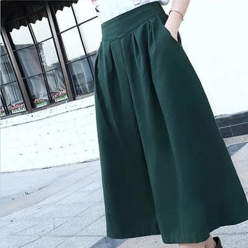 New summer autumn women's linen skirts, mid-calf length pleated skirts, elastic waist big bottom forest green,beige