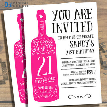 21st Birthday Invitation, 21st Birthday, Birthday Invite, 21 Birthday, Digital, Milestone, Printable, DIY, Invite, Template, Birthday Party