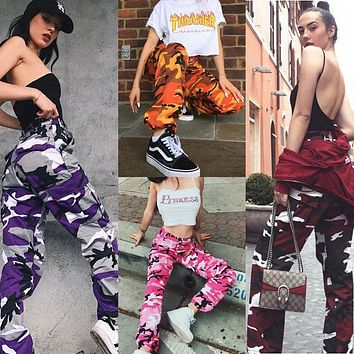 Summer Women's Ladies Camo Cargo Trousers Pants Casual Pants Military Army Combat Camouflage Jeans Pencil Pants Pink Red Gray