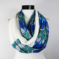 Blue infinity scarf,Feather scarf, Loop scarf. Circle scarf. Women Scarf. Gift. ,Scarves, scarf, infinity scarf