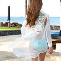 Romantic Bliss, Cotton & Crochet Boyfriend Style Swimsuit Cover Up, Cardigan Feminine Lace Detail.