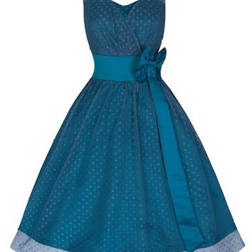 Lindy Bop 'Ella' Beautiful Polka Dot Vintage Inspired 50's Prom Dress (L, Slate)