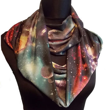 Galaxy Stars & Planets Print Soft Lycra Infinity Eternity Scarf Universe