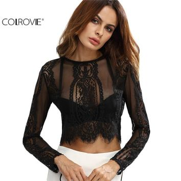 COLROVIE Lace See-through Crop Shirt Women Blouse Round Neck Long Sleeve Sexy Ladies Tops Zipper Back Blouse