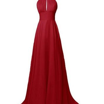 Ubridal Women's Chiffon Halter Long Bridesmaid Dress Sexy Backless Prom Gowns