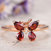 Pear Cut Garnet Engagement Ring,unique ring,custom made fine jewelry,Diamond Wedding Ring,Solid 14K rose Gold wedding ring butterfly design Art deco