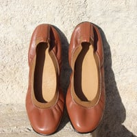 Leather flats women/tan leather flats/greek shoes/leather ballet flats size 38/7- 7.5