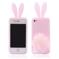 Lovely Rabbit Silicone Bunny Case For iPhone 5 with Furry Tail - Pink