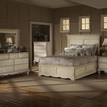 1172-wilshire-storage-panel-bed-queen-rails-nightstand-dresser-and-mirror - Free Shipping!