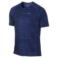 Nike Miler Printed Short-Sleeve Men's Running Shirt - Hyper Cobalt