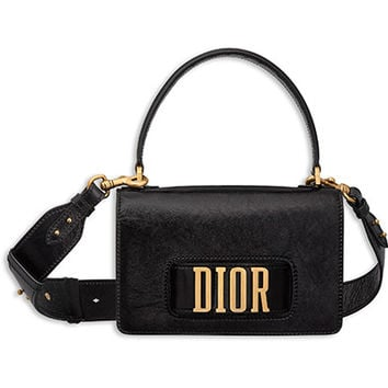 Dio(r)evolution flap bag with slot handclasp in black crinkled calfskin - Dior