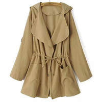 Khaki Hooded Drawstring Pockets Trench Coat