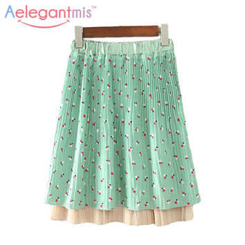 Special Offer Aelegantmis Spring New High Waist Straight Midi Pleated Skirts Women Cute Green Print Elastic Waist Chiffon Skirt