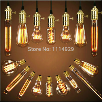 Single American Vintage Pendant Lights Copper Lamp Holder Edison Bulbs Industrial Lamps E26 E27 110-220V 110cm Antique Bulbs