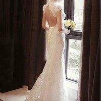 [203.99] Elegant Lace High Collar Neckline Natural Waistline Sheath Wedding Dress - Dressilyme.com