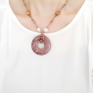 Lia Sophia Round Pendant Necklace