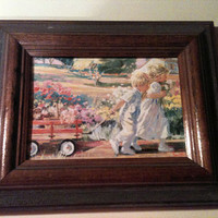 Country Children  By Corrine Hartley, Framed watercolor Lithograph Framed by The Classic Picture Co.