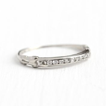 Diamond Wedding Band - Vintage 14k White Gold .10 CTW Ring - Size 5 1/2 Art Deco 1940s Wedding Fine Bridal Channel Set Half Eternity Jewelry