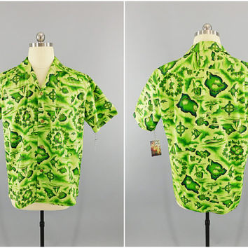 Vintage 1950's Hawaiian Shirt / 1960s Ui-Maikai / Cotton Hawaiian Print Aloha Shirt / Lime Green Hawaii Shirt Menswear Tiki / Size XL 46""
