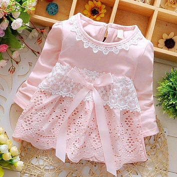 Sweet Baby Lace Crochet Long Sleeve Bow knot Summer dress for girls Cotton Hollow out little flower Dresses vestido infantil A