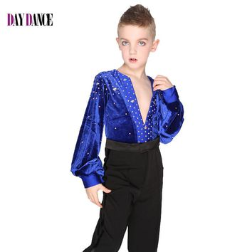 Boys Long Sleeve Latin Dance Shirts Leotard Ballroom Dance Tops High-Grade Velvet Drill Latin Dance Shirt