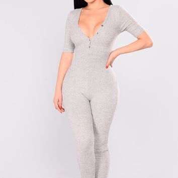 Fast Love Henley Jumpsuit - Heather Grey