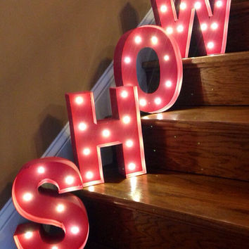 "Battery Operated LED Painted Marquee Letters- this listing is for 1- 12"" tall letters"