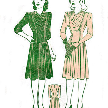 1940s PLUS SIZE Draped front Dress Vintage Sewing Pattern Pauline 5451 Bust 42 inches