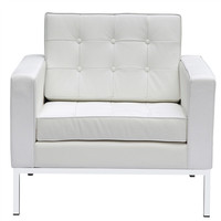 Button Arm Chair White in Leather