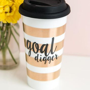 Goal digger striped travel mug